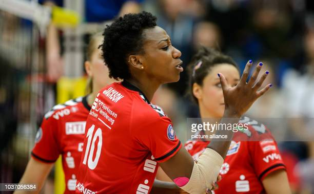 Dresden's Cursty Jackson cheers during the German women's Bundesliga Volleyball match between Dresdner SC and VT Aurubis Hamburg in DresdenGermany...