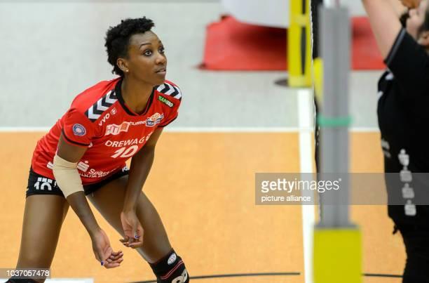 Dresden's Cursty Jackson in action during the German women's Bundesliga Volleyball match between Dresdner SC and VT Aurubis Hamburg in...