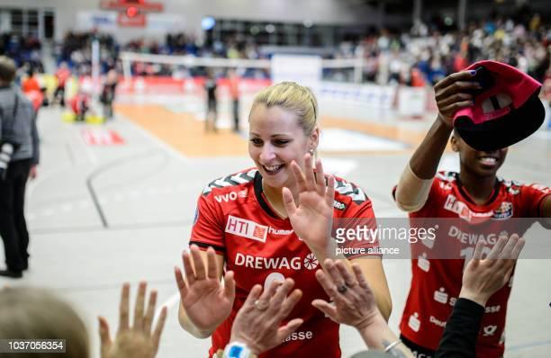 Dresden's Jaroslava Pencova cheers during the German women's Bundesliga Volleyball match between Dresdner SC and VT Aurubis Hamburg in...