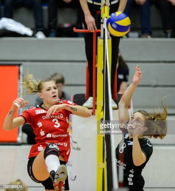 Dresden's Kristina Mikhailenko and Hamburg's Jennifer Lundquist in action during the German women's Bundesliga Volleyball match between Dresdner SC...