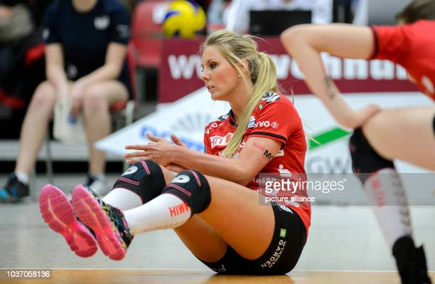 Dresden's Laura Dijkema in action during the German women's Bundesliga Volleyball match between Dresdner SC and VT Aurubis Hamburg in DresdenGermany...