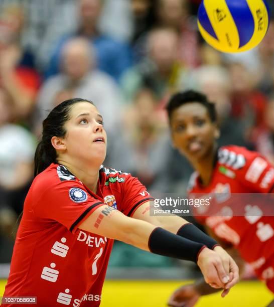 Dresden's Molly Kreklow in action during the German women's Bundesliga Volleyball match between Dresdner SC and VT Aurubis Hamburg in...