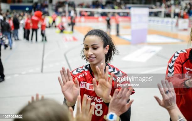 Dresden's Shanice Marcelle cheers during the German women's Bundesliga Volleyball match between Dresdner SC and VT Aurubis Hamburg in DresdenGermany...