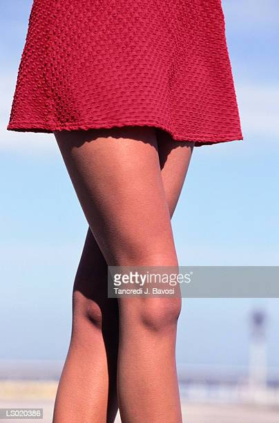 dress and legs of young woman - bavosi stock photos and pictures