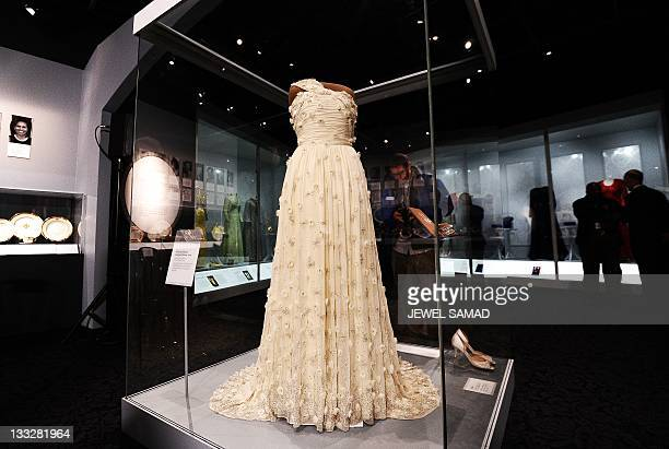A dress and other accessories of US First Lady Michelle Obama is displayed at the Smithsonian's National Museum of American History in Washington DC...