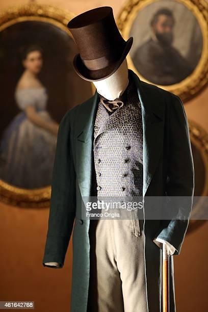 Dress by costume designer Ursula Patzak worn by Elio Germano for the movie 'Il Giovane Favoloso' by Mario Martone is shown during the 'I Vestiti Dei...