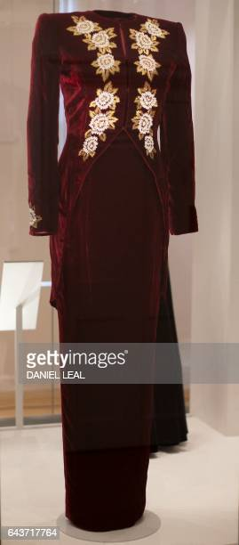 A dress by designer Catherine Walker and worn by Britain's Diana Princess of Wales at an engagement in Leicester Square London in 1990 is pictured...
