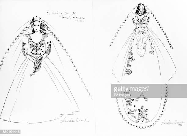 Dress designer Lindka Cierach's sketches of the front and back views of the wedding dress to be worn by Miss Sarah Ferguson during her wedding to...