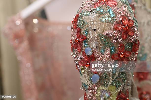 A dress detail is seen backstage before the Zuhair Murad backstage Spring Summer 2016 show as part of Paris Fashion Week on January 27 2016 in Paris...