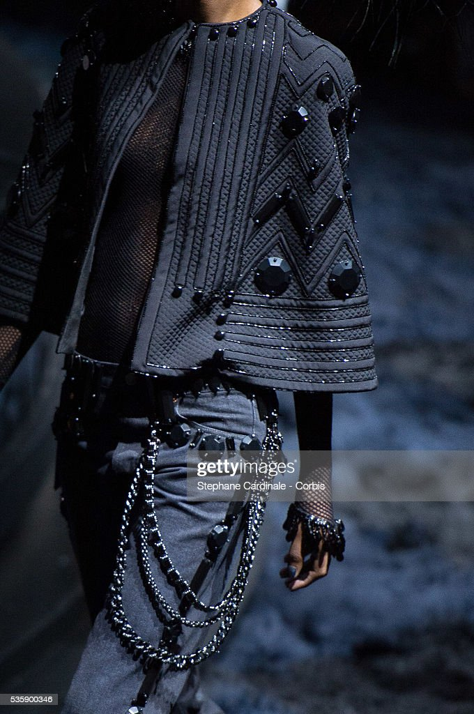 Dress detail of a model is seen as she walks the runway during Louis Vuitton show at 'Cour Carre du Louvre', as part of the Paris Fashion Week Womenswear Spring/Summer 2014, in Paris.
