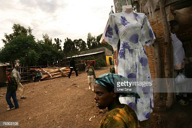 A dress for sale is displayed outside a seamstress's hut on April 30 2007 in Gondar in northern Ethiopia Some 2500 Ethiopians of Jewish origin from...
