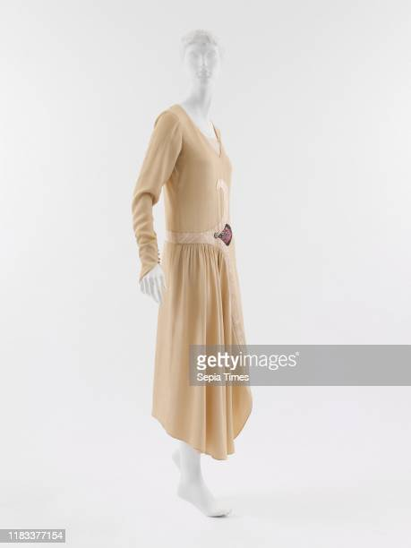 Dress French, silk, glass, In Poiret's oeuvre, leitmotifs distinguish his designs that, otherwise, conform to prevailing fashions. This dress, from...