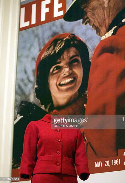 A dress from Jacqueline Kennedy's cover picture on Life Magazine is displayed at the Corcoran Gallery of Art 28 March 2002 in Washington DC The...