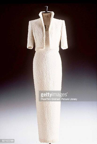 Dress From The Christie's Diana Dresses Auction Collection White Beaded Ivory Silk Crepe Dress And Bolero Designed By Catherine Walker With Simulated...