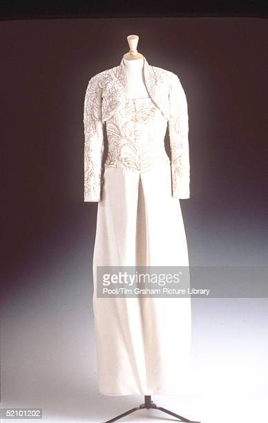 Dress From The Christie's Diana Dresses Collection On Prior Display In London Oyster Duchesse Satin With Bolero Embroidered With Sprays Of Carnations...