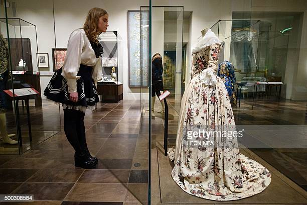A dress from the Dutch Republic made around 1785 is displayed within the Victoria and Albert museum's new '16001815' galleries in London on December...
