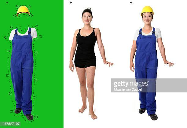 dress her up, handywoman (pos ii) - coveralls stock pictures, royalty-free photos & images