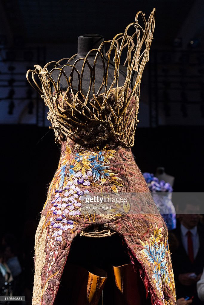 A dress is displayed before the Laurence Xu show as part of Paris Fashion Week Haute-Couture Fall/Winter 2013-2014 at Pavillon Cambon on July 4, 2013 in Paris, France.