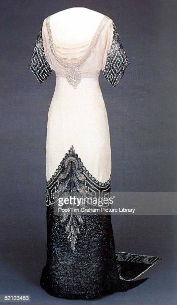 A dress is on display at the 'Style and Splendour Queen Maud of Norway's Wardrobe 18961938' exhibition at the Victoria and Albert Museum marks100th...