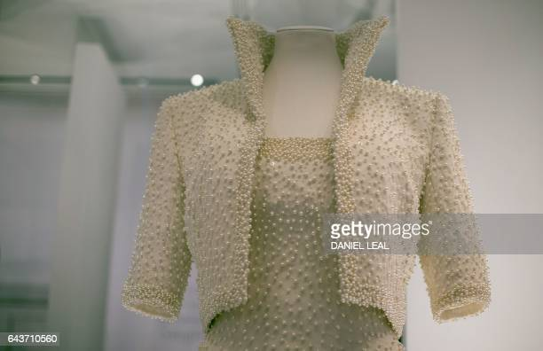 A dress known as the 'Elvis Dress' by designer Catherine Walker and worn by Britain's Diana Princess of Wales in Hong Kong in 1989 is pictured during...
