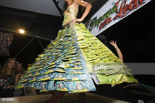 Dress made from recycled coffee bags is shown at the Trashion Fashion show in Tamarindo, Costa Rica, on September 11, 2008. The show was showcasing...
