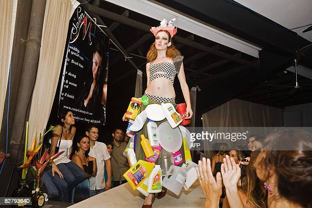 Dress made from recycled plastic containers is shown during the Trashion Fashion show in Tamarindo, Costa Rica, on September 11, 2008. The show was...