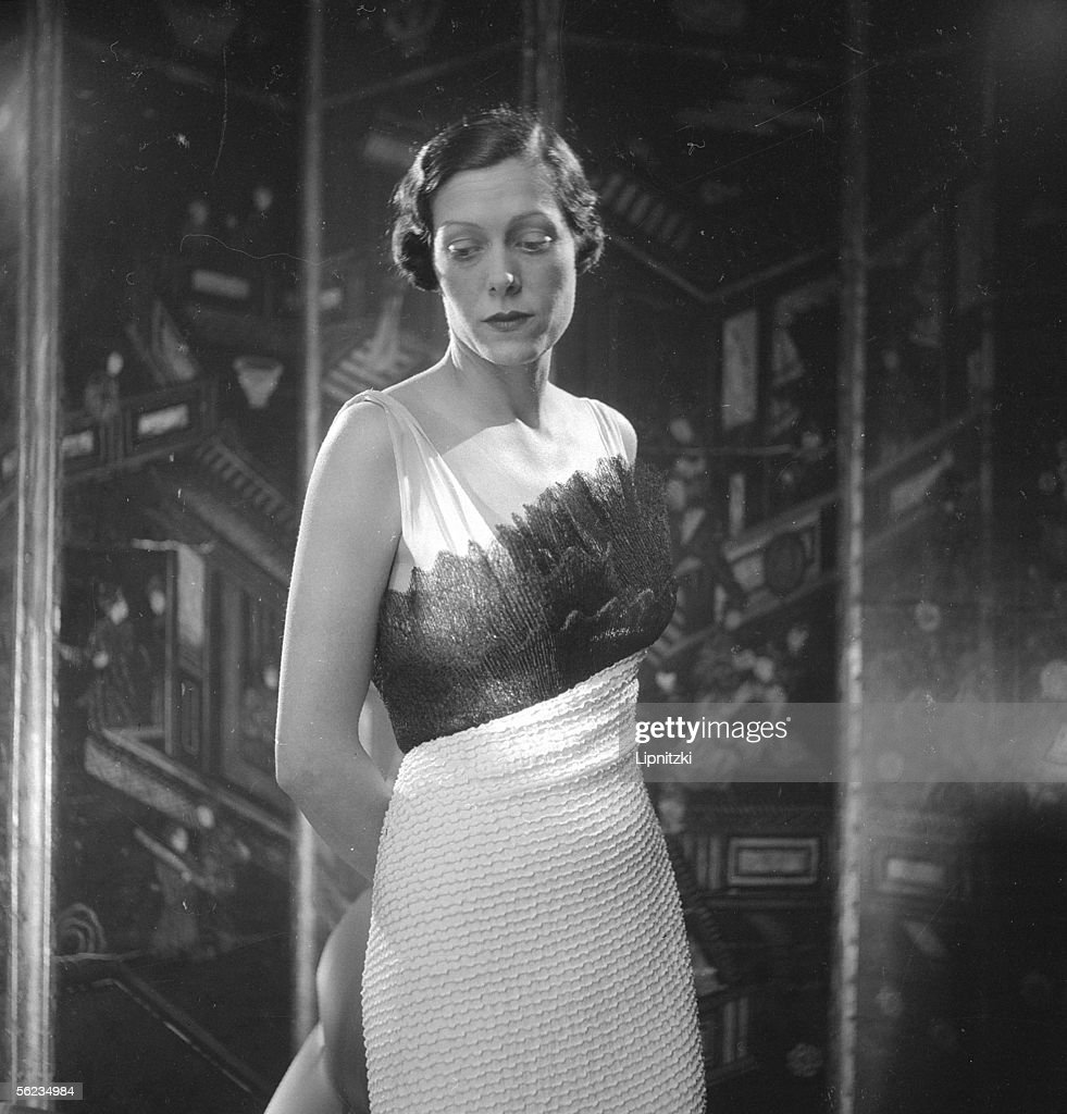 Dress of Elsa Schiaparelli, French couturier of Italian origin. Paris, march 1934.