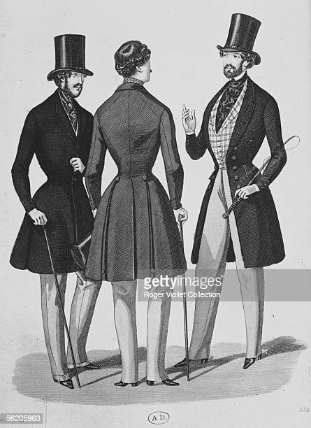 Dress of imagination singlebreasted frock coat and halfcardigan doublebreasted on the front Engraving of the Fashions of Paris Newspapers of the...
