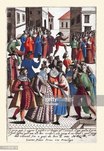 Dress of Venetian Men and Ladies - Masked Ball at Carnival. 017-Vestimenta de mascaras en el carnaval de Venecia-Habiti d'hvomeni et donne venetiane...