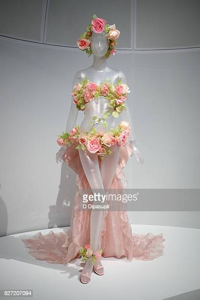 A dress on display at the Manus x Machina Fashion in an Age of Technology press preview at the Metropolitan Museum of Art on May 2 2016 in New York...