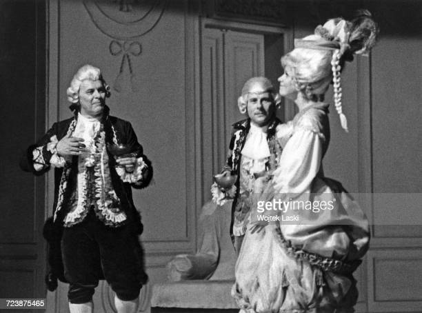 A dress rehearsal for the play 'Amadeus' by Peter Shaffer at the Na Woli Theatre Warsaw Poland June 1981 The play is directed by and stars Roman...