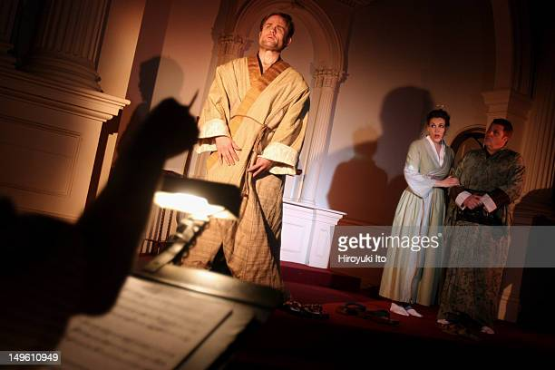 Dress rehearsal of Martin Halpern's opera 'The Dwarf Trees' at New York New Church on Wednesday night June 22 2011This imageFrom left Jim Trainor as...