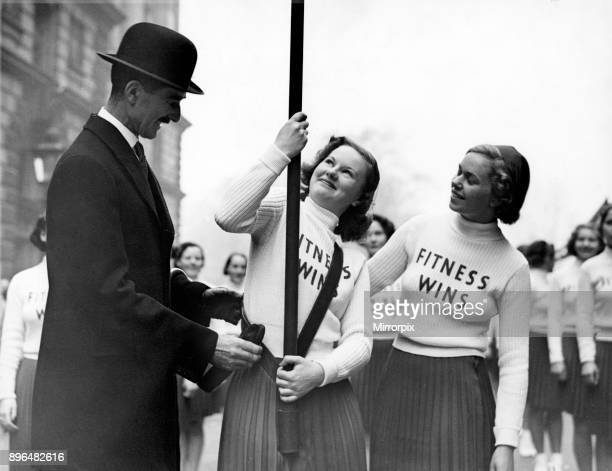 Dress rehearsal of the National Fitness Exhibit in the Lord Mayors Show in King Charles Street Whitehall Lord Aberdare Chairman of the National...