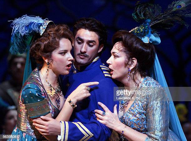 Dress rehearsal of the operetta The Merry Widow by Franz Lehar performed by LA Opera at the Dorothy Chandler pavillion in Los Angeles Pic shows...
