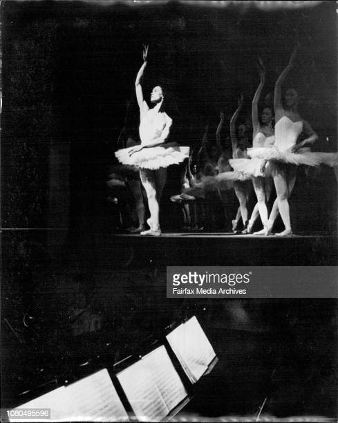 """Dress rehearsal of the Russian Ballet at the Regent theatreDancers and the Orchestra.Star of the film """"walkabout"""" David Gumpilil performs a devil..."""