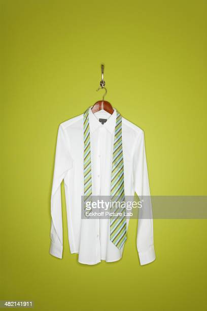 Dress shirt and tie on hanger