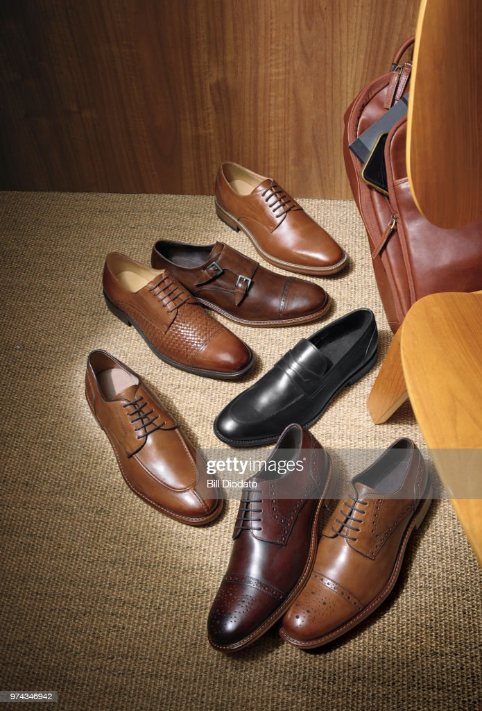 an array of different leather dress shoes to select from