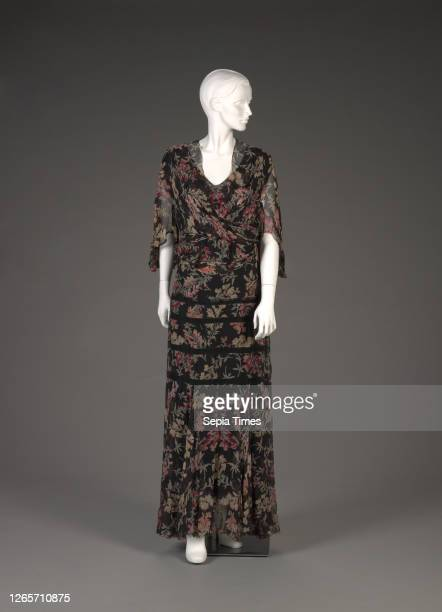 Dress with jacket, late 1930s, silk chiffon, netting, No measurement details., Textile and Fashion Arts.
