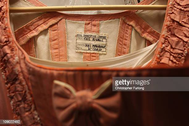 A dress worn by actress Wendy Craig in The Rivals as Mrs Malaprop one of the thousands for sale during the RSC's public costume sale on February 12...