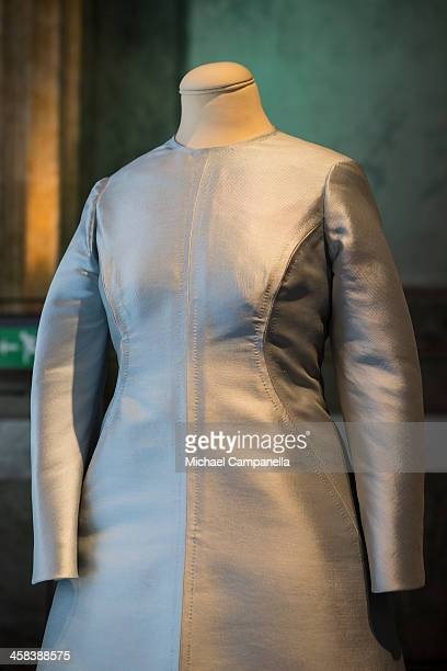 Dress worn by Princess Lilian of Sweden designed by Elizabeth Wondrak is seen on display during an exhibition at the Royal Palace on October 17, 2016...