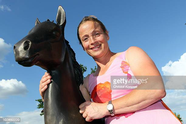 Dressage Olympic champion Isabell Werth poses during the Media Night of the CHIO on July 13 2010 in Aachen Germany