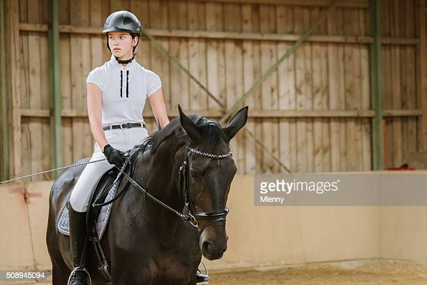 dressage riding teenage girl equestrian hall - riding stock pictures, royalty-free photos & images