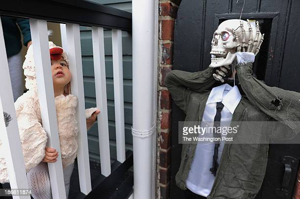 Dressed as a chicken, Annabel Burwell peers through a railing at her family's home along S. Lee St. As people celebrate Halloween by...