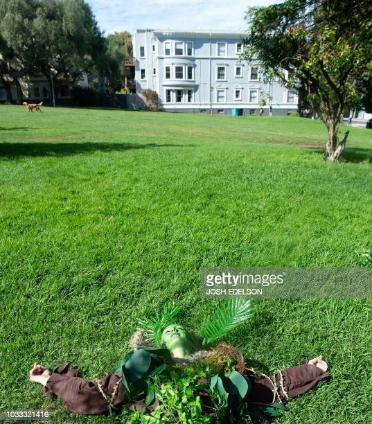 Dressed as a tree Krysta Cook lies on the grass at Duboce Park during the Global Climate Action Summit in San Francisco California on September 14...