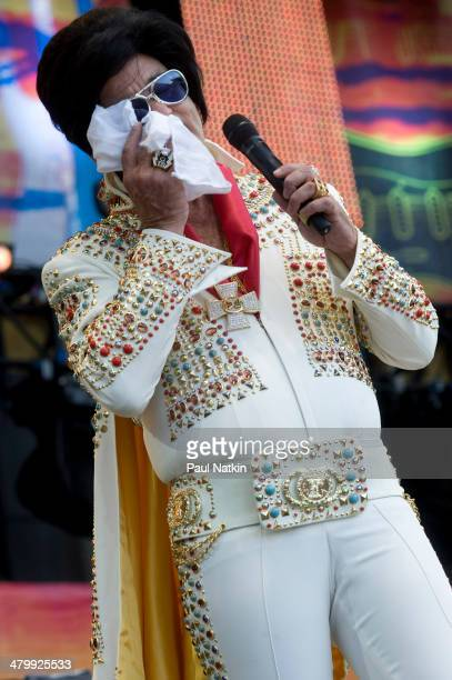 Dressed as Elvis Presley actor Bill Murray performs onstage at Eric Clapton's Crossroads Guitar Festival held at Toyota Park Bridgeview Illinois June...