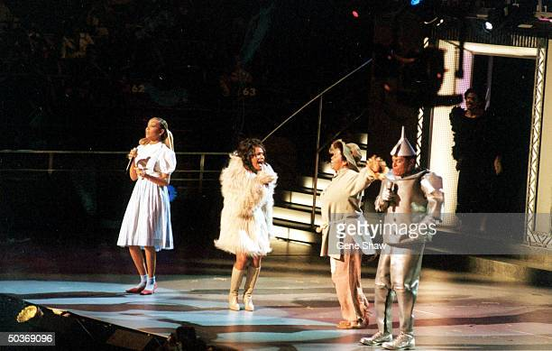 Dressed as the Characters from The Wizard of Oz Monica Debra Cox Jill Scott Al Jarreau they perform The Wizard of Oz Melody at Michael Jackson's 30th...