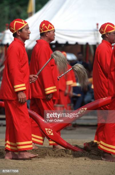 Dressed in royal ceremonial costumes the official handlers of the royal cows ritually plough the Royal Field The royal ploughing ceremony is used to...