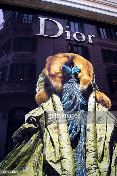 dressed mannequin in dior shop window, via dei condotti, rome - christian dior dress stock pictures, royalty-free photos & images