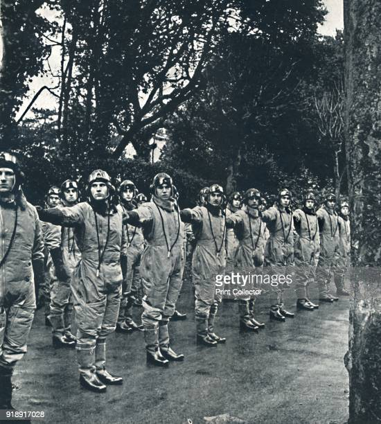 'Dressed ranks' 1941 A troop of airmen in flying suits stand in line From Air of Glory by Cecil Beaton [His Majesty's Stationery Office London...