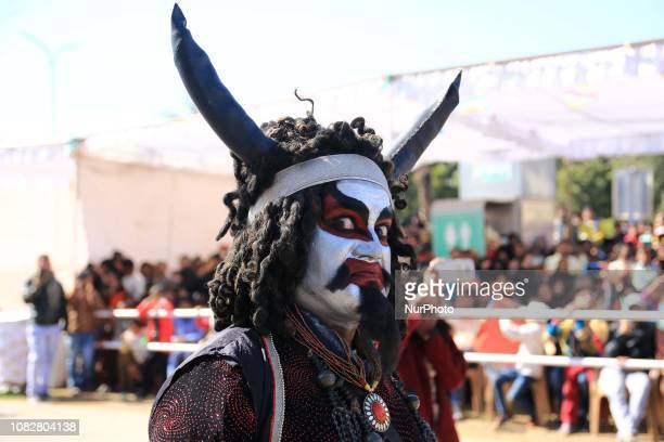 Dressed up artists during Kite Festival on the occasion of Makar Sankranti at Jal Mahal in JaipurRajasthanIndia Jan 142019